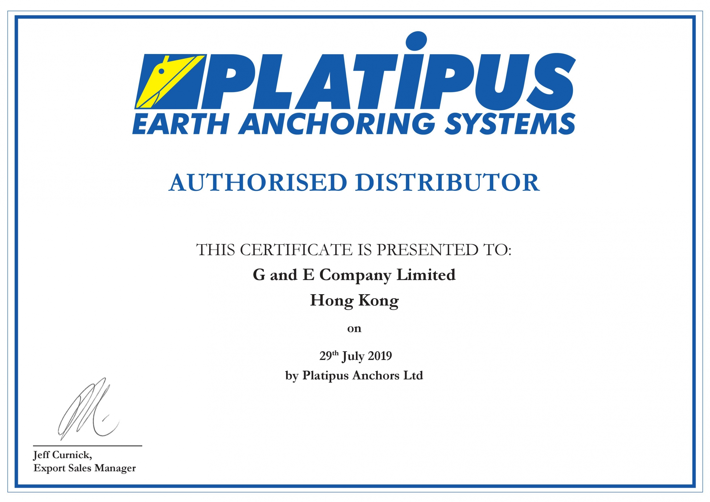 Distributor Authorization | G and E Company Ltd